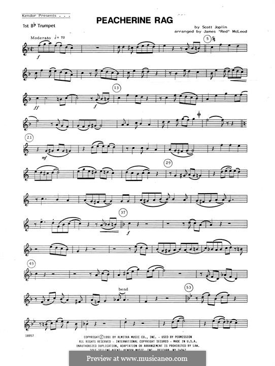 Peacherine Rag: For winds - 2nd Bb Trumpet part by Scott Joplin
