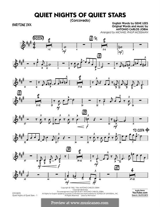 Quiet Nights of Quiet Stars (Corcovado) arr. Michael Philip Mossman: Baritone Sax part by Antonio Carlos Jobim