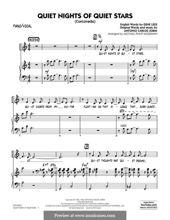 Quiet Nights of Quiet Stars (Corcovado) arr. Michael Philip Mossman: Piano/Vocal part by Antonio Carlos Jobim