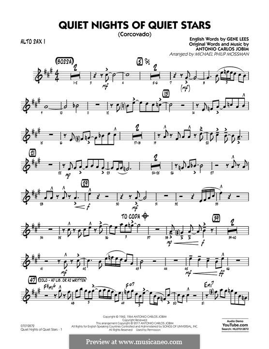Quiet Nights of Quiet Stars (Corcovado) arr. Michael Philip Mossman: Alto Sax 1 part by Antonio Carlos Jobim