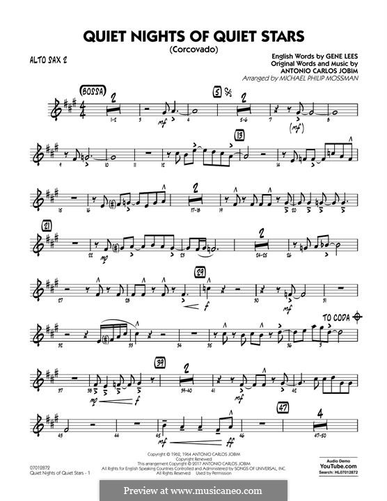 Quiet Nights of Quiet Stars (Corcovado) arr. Michael Philip Mossman: Alto Sax 2 part by Antonio Carlos Jobim