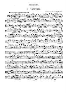 Romanze für Cello (oder Bratsche, oder Horn) und Harmonium (oder Klavier), Op.56 No.1: Cello- und Bratschenstimmen by Ferdinand Hummel