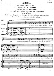 Abel, für Stimme und Klavier (Harfe): Abel, für Stimme und Klavier (Harfe) by Rodolphe Kreutzer