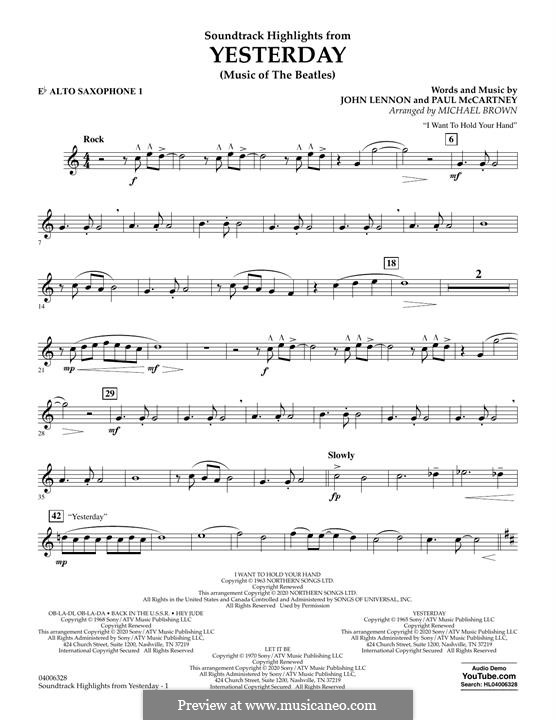 Highlights from Yesterday (Music of The Beatles): Eb Alto Saxophone 1 part by John Lennon, Paul McCartney