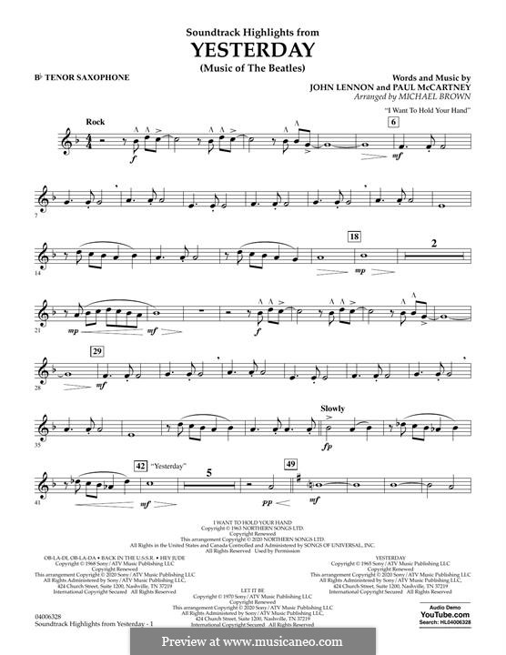 Highlights from Yesterday (Music of The Beatles): Bb Tenor Saxophone part by John Lennon, Paul McCartney