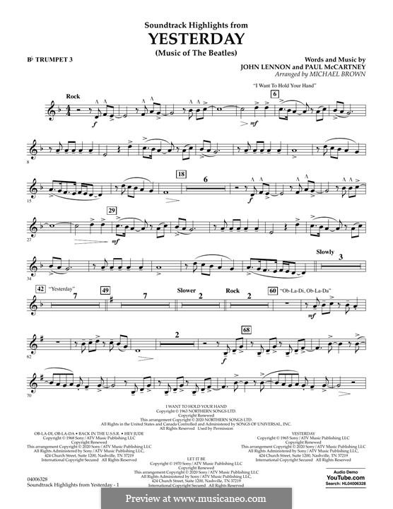 Highlights from Yesterday (Music of The Beatles): Bb Trumpet 3 part by John Lennon, Paul McCartney