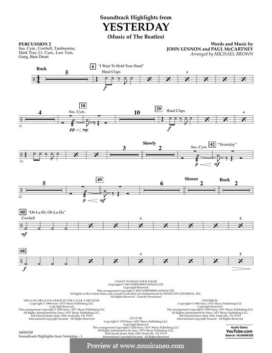 Highlights from Yesterday (Music of The Beatles): Percussion 2 part by John Lennon, Paul McCartney