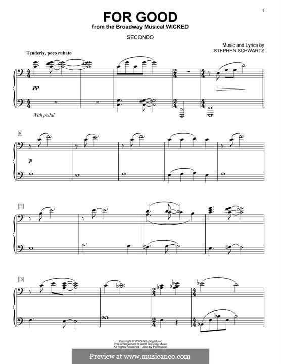 For Good (from Wicked): Für Klavier by Stephen Schwartz