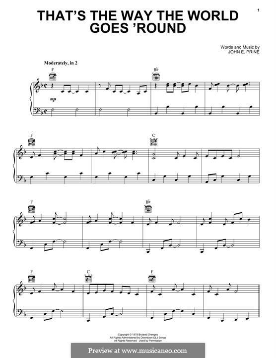 That's the Way the World Goes 'Round (Miranda Lambert): Für Stimme und Klavier (oder Gitarre) by John Prine