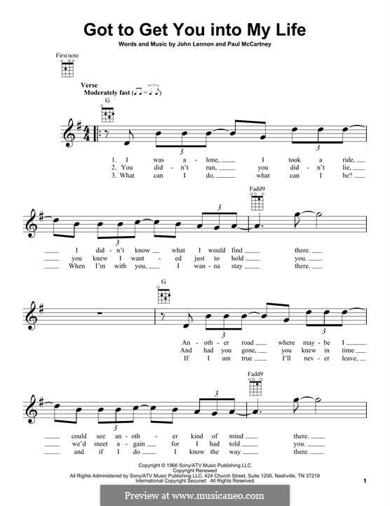 Got To Get You Into My Life (The Beatles): Für Ukulele by John Lennon, Paul McCartney