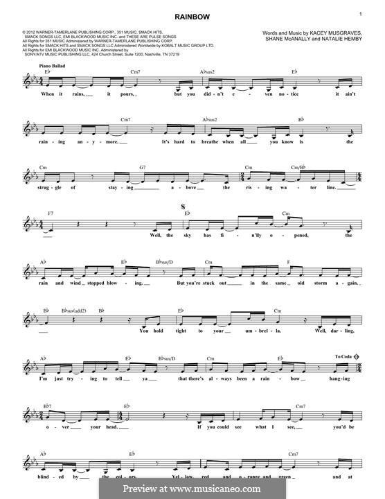 Rainbow: Für Keyboard by Natalie Hemby, Shane McAnally, Kacey Musgraves