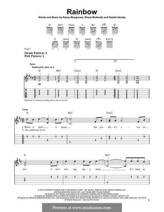 Rainbow: Für Gitarre by Natalie Hemby, Shane McAnally, Kacey Musgraves
