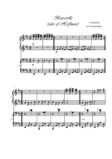 Barcarola: For piano 4 hands by Jacques Offenbach