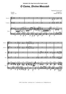 O Come, Divine Messiah: For Brass Quartet and Piano by folklore