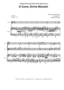 O Come, Divine Messiah: Duet for Violin and Viola by folklore