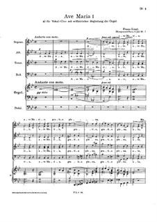 Ave Maria I, S.20: Erste Fassung by Franz Liszt
