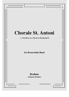 Variationen über ein Thema von Haydn, Op.56a: For Brasswinds Band by Johannes Brahms