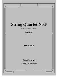Quartett Nr.5 in A-Dur: Vollpartitur, Stimmen by Ludwig van Beethoven