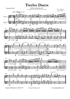 Zwölf Duette für zwei Hörner, K.487: Version for Viola Duo by Wolfgang Amadeus Mozart