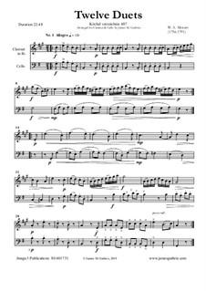 Zwölf Duette für zwei Hörner, K.487: Version for Clarinet and Cello by Wolfgang Amadeus Mozart