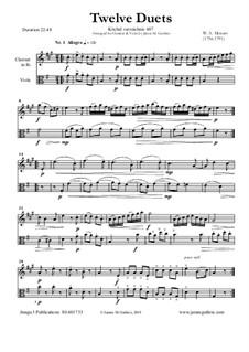 Zwölf Duette für zwei Hörner, K.487: Version for Clarinet and Viola by Wolfgang Amadeus Mozart