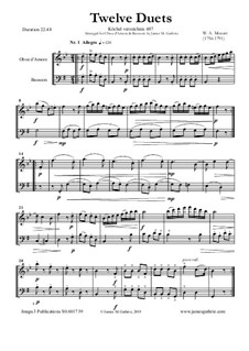 Zwölf Duette für zwei Hörner, K.487: Version for Oboe d'Amore and Bassoon by Wolfgang Amadeus Mozart
