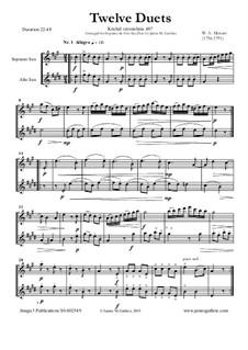 Zwölf Duette für zwei Hörner, K.487: Version for Soprano and Alto Sax Duo by Wolfgang Amadeus Mozart