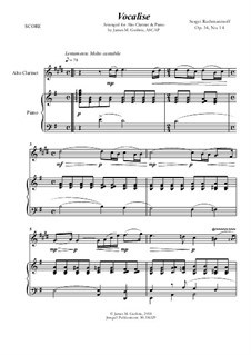 Vocalise, Op.34 No.14: For Alto Clarinet and Piano by Sergei Rachmaninoff