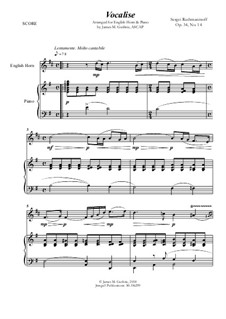 Vocalise, Op.34 No.14: For English Horn and Piano by Sergei Rachmaninoff