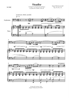 Vocalise, Op.34 No.14: For Euphonium and Piano by Sergei Rachmaninoff
