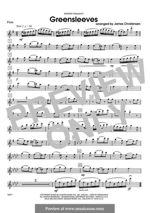 Greensleeves (Printable scores): Flötenstimme by folklore