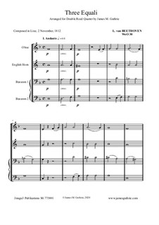 Drei Equale, WoO 30: For Double Reed Quartet by Ludwig van Beethoven