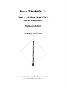 Concerto No.8 in g minor: For english horn and string orchestra – solo part by Tomaso Albinoni