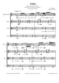 Teil II: For Clarinet & String Trio by Johann Sebastian Bach