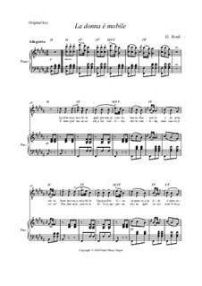La donna è mobile (Over the Summer Sea): Original key by Giuseppe Verdi
