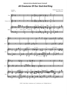 All Creatures of Our God and King: Duet for Flute and Bb-Clarinet by folklore