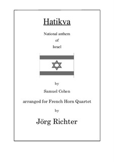 Hatikva: Für Horn Quartett by Samuel Cohen