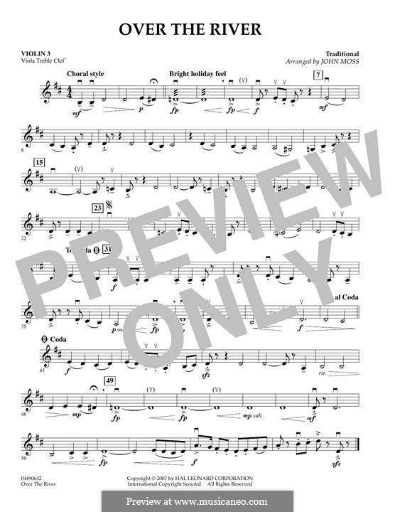 Over the River: Violin 3 (Viola Treble Clef) part by folklore