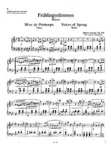 Frühlingsstimmen, Op.410: Für Klavier by Johann Strauss (Sohn)