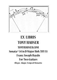 Sonate für Klavier Nr.34 in D-Dur, Hob.XVI/33: Für Gitarre by Joseph Haydn