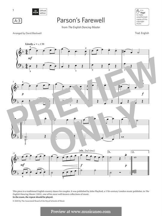 Parson's Farewell: Für Klavier by folklore