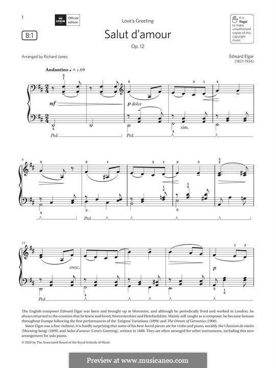 Liebesgruss, Op.12: Für Klavier by Edward Elgar