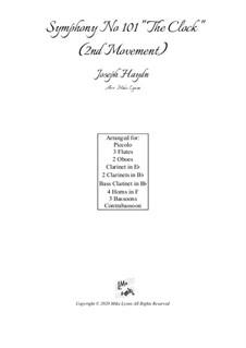 Sinfonie Nr.101 in D-Dur 'Die Uhr', Hob.I/101: Movement II, for wind choir by Joseph Haydn