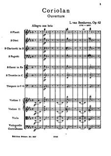 Ouvertüre Coriolan, Op.62: Vollpartitur by Ludwig van Beethoven