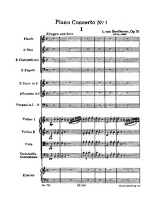 Konzert for Klavier und Orchester Nr.1, Op.15: Partitur by Ludwig van Beethoven