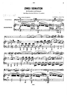 Sonate für Cello und Klavier Nr.2 in g-Moll, Op.5: Partitur by Ludwig van Beethoven