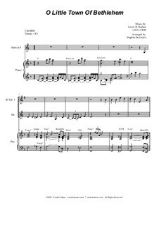 O Little Town of Bethlehem: For Brass Quartet and Piano by Lewis Henry Redner