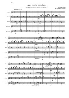 Aura Lee: For flute and piccolo quintet by George R. Poulton