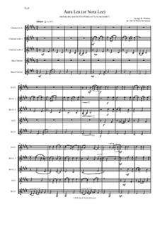 Aura Lee: For clarinet quintet (E flat, 2 B flats, alto and bass) by George R. Poulton