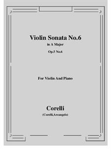 Sonate Nr.6: Bearbeitung für Violine und Klavier by Arcangelo Corelli